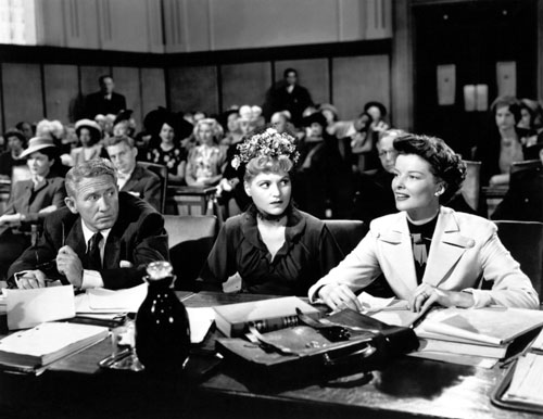 "Spencer Tracy, Judy Holliday and Katharine Hepburn in ""Adam's Rib"" (MGM, 1949)"