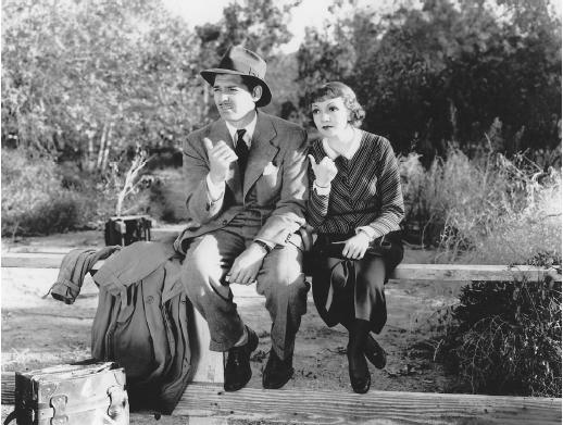 "Clark Gable and Claudette Colbert in ""It Happened One Night"" (Columbia, 1934)"