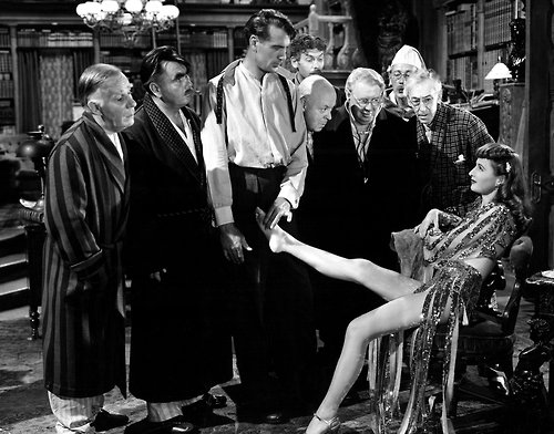 "Cary Cooper, Barbara Stanwyck and the ""professors"" in ""Ball of Fire"" (Samuel Goldwyn, 1941)"