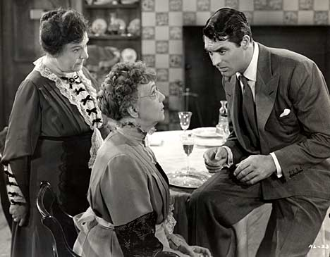 "Josephine Hull, Jean Adair and Cary Grant in ""Arsenic and Old Lace"" (Warner Bros., 1944)"