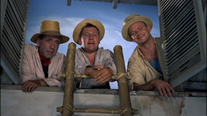 "Humphrey Bogart, Peter Ustinov, and Aldo Ray in ""We're No Angels"" (Paramount, 1955)"