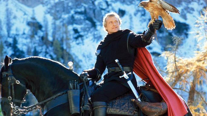 "Rutger Hauer and Michelle Pfeiffer (the hawk) in ""Ladyhawke"" (Warner Bros./20th Century Fox, 1985)"