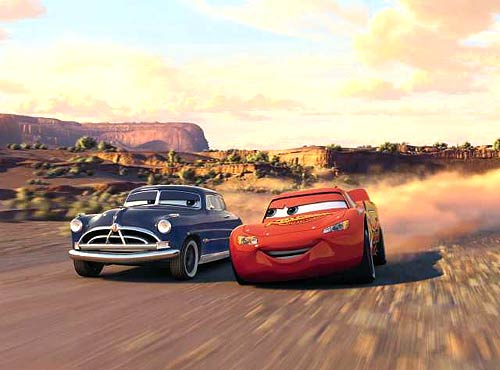 "Doc Hudson (Paul Newman) tries to teach Lightning McQueen (Owen Wilson) a thing or two in ""Cars"" (Disney/Pixar, 2006)"