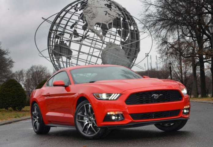 2015 Ford Mustang at Flushing Meadows, home to the 1964 New York World's Fair where the original Mustang made its debut