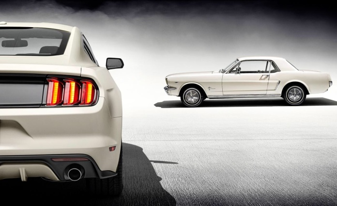 1964 1/2 Ford Mustang and 2015 Ford Mustang, both in Wimbledon White (Image © Ford Motor Company)
